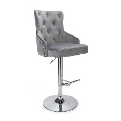 Pair Of Adjustable Brushed Grey Velvet Bar Stools With Stud Detail And Piping 126 x 52cm