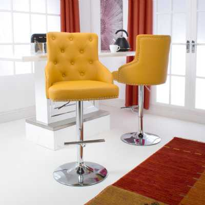 Pair of Yellow Leather Match Bar Stools Adjustable With Chrome Base T Bar Footrest