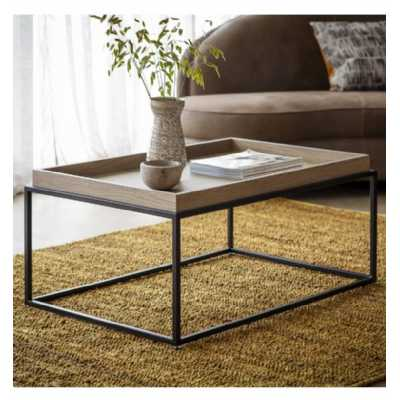 Modern Grey Finish Oak Wood And Metal Living Room Tray Coffee Table 90 x 60cm