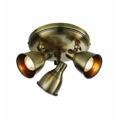 3 Round Ceiling Light Antique Brass