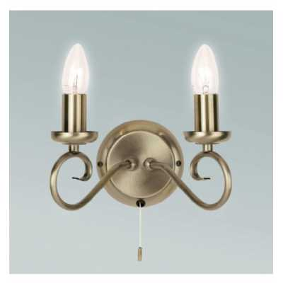 2 Wall Light Antique Brass