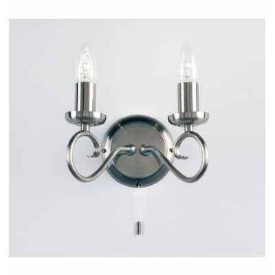 2 Wall Light Antique Silver