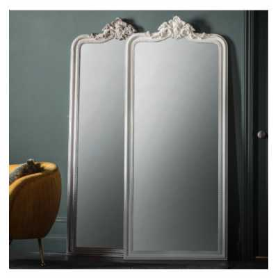 French Style Tall Full Length Embellished Crown Ornate White Mirror 80x10.5x190cm
