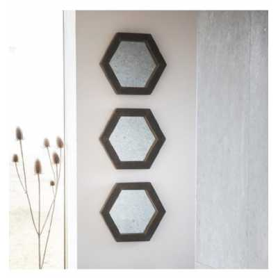 Set Of Three Modern Style Garfield Concrete Resin Hexagonal Wall Mirrors 30.5 x 35.5cm
