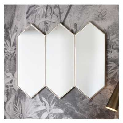 Contemporary Style 3 Geometric Silver Hexagonal Shaped Joined Wall Mirror 83 x 100cm