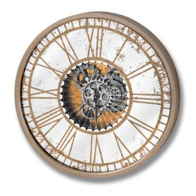 Distressed Mirrored Glass Round Gold Colour Wood Framed Clock With Silver Moving Mechanism
