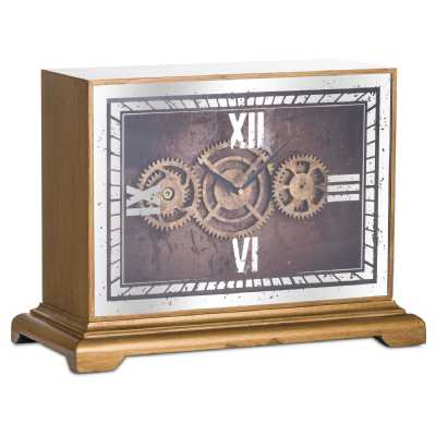 Mirrored Gold Painted Finished Moving Gears Mechanism Mantel Clock 33x46x21cm