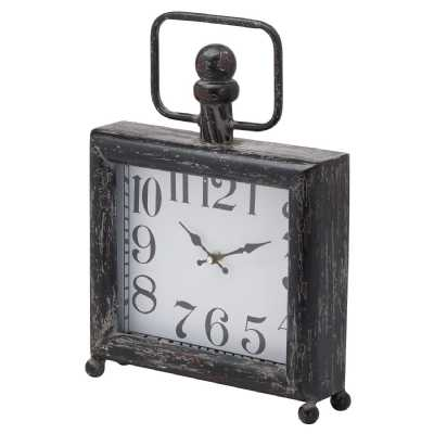 Dark Distressed Square Mantel Clock