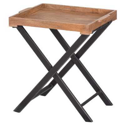 Nordic Collection Brown Mango Wood Scandi Style Kitchen Large Butler Folding Table