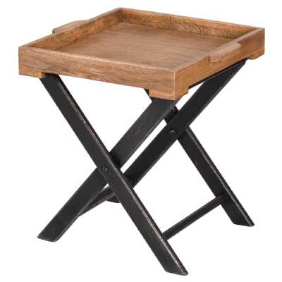 Nordic Collection Brown Mango Wood Parquet Top Medium Butler Table