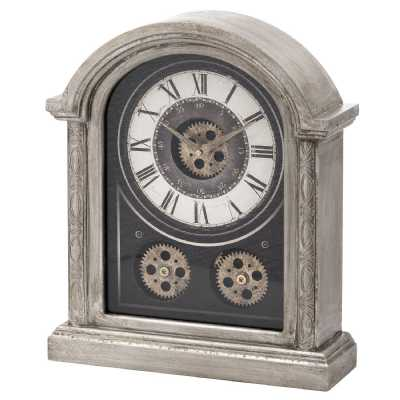Antique Vintage Industrial Silver Mechanism Wooden Framed Mantle Clock 40 x 34 x 11cm