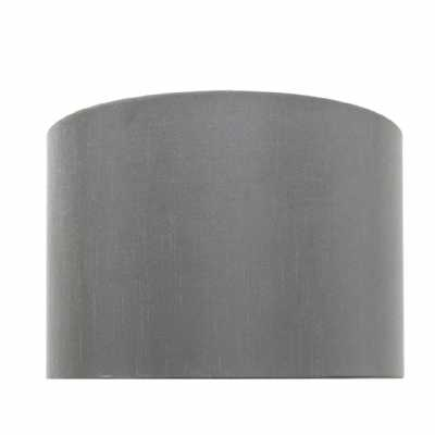 Grey 9 Inch Faux Silk Cylinder Shade (dual Fitting)