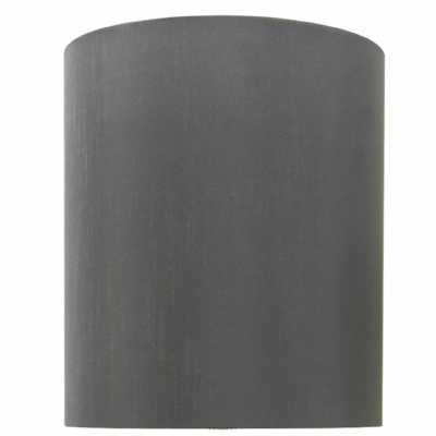Grey 10 Inch Faux Silk Cylinder Shade (dual Fitting)