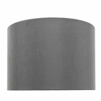 Grey 13 Inch Faux Silk Cylinder Shade (dual Fitting)