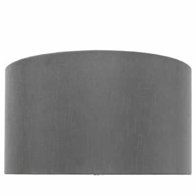 Grey 19 Inch Faux Silk Cylinder Shade (dual Fitting)