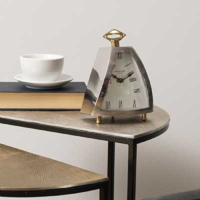 Isosceles Polished Nickel Curved Front Mantel Clock With Brass Feet and Handle