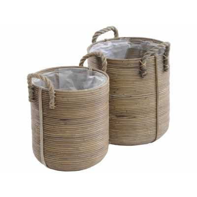 Toba Set Of Two Rattan Baskets With Handles