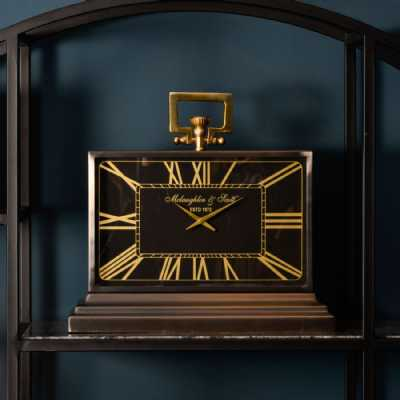 Latham Medium Black And Gold Aluminium Rectangular Clock