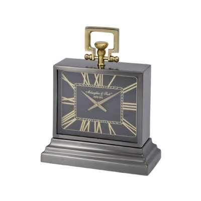 Latham Small Black And Gold Aluminium Rectangular Table Clock Nickel Finish Roman Numerals