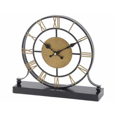 Traditional Black and Antique Brass Skeleton Mantel Clock Roman Numerals Face