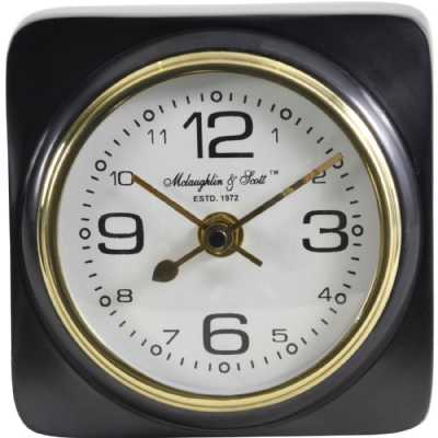 Thompson Solid Aluminium Black Square Carriage Mantel Clock