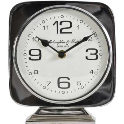 Vickery Silver Nickel Square Mantel Clock on Stand