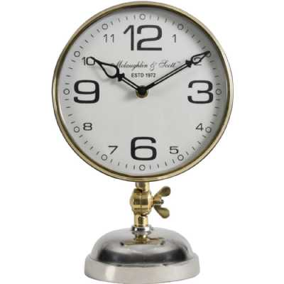 Stollard Silver Nickel Mantel Clock With Gold Angle Adjuster and Detail