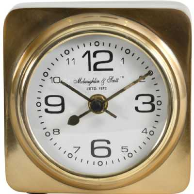 Thompson Solid Aluminium Gold Square Carriage Mantel Clock