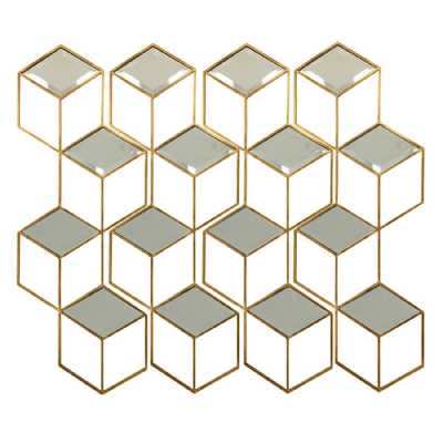 Honeycomb Mirror Set Aged Champagne Finish