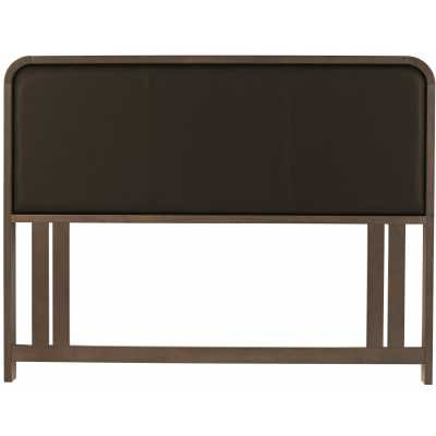 Capri Walnut Finish Wooden Frame Brown Faux Leather Upholstered 4ft6 Double 135cm Headboard