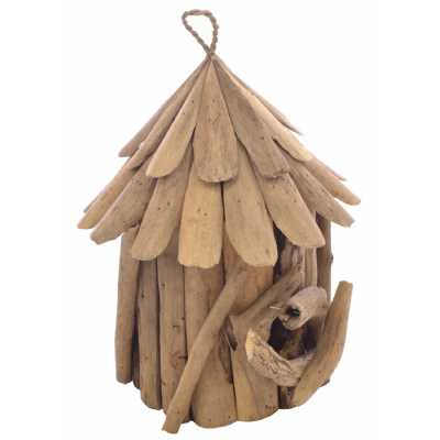 Large Bird House Hand Carved in Natural Driftwood