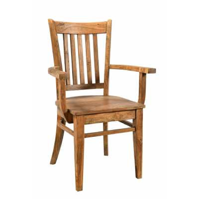 Handicrafts Wooden Chair With Vertical Slats and Arms