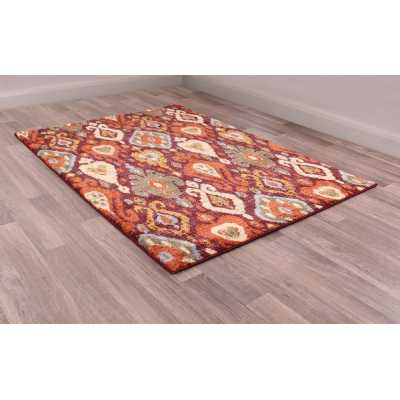 Cashmere 5566 Red Traditional Polyester Floral Rug 80 X 150