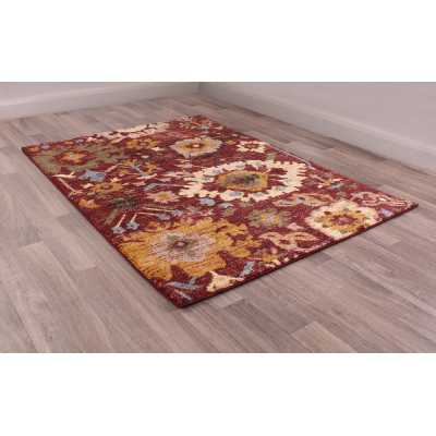 Cashmere 5565 Red Traditional Polyester Floral Rug 80 X 150