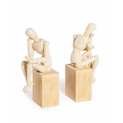 Set Of 2 'Thinker' Wooden Effect Model Man Bookends
