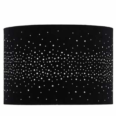 13in Diamond Velvet Cylinder Shade Black (dual Fitting)