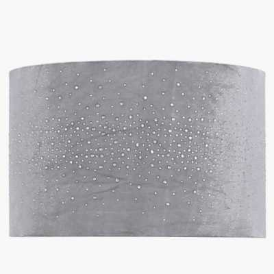 17in Diamond Velvet Cylinder Shade Grey (dual Fitting)