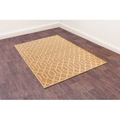 Dimensions 625 Gold Geometric Contemporary Wool Rug 160 x 230cm