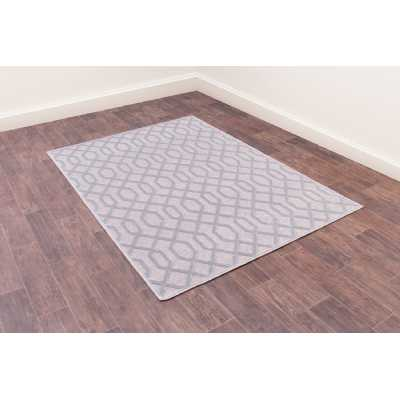 Dimensions 625 Silver Geometric Contemporary Wool Rug 160 x 230