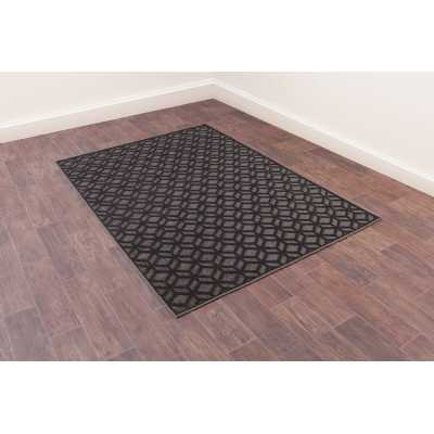 Dimensions 825 Grey and Black Geometric Contemporary Wool Rug 160 x 230