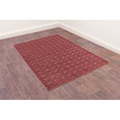 Dimensions 809 Red Geometric Contemporary Wool Rug 160 x 230