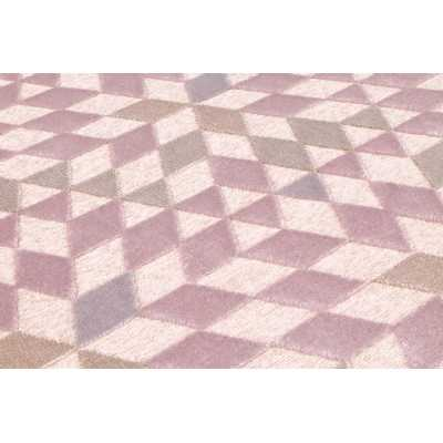 Dimensions 496 Rose Geometric Contemporary Wool Rug