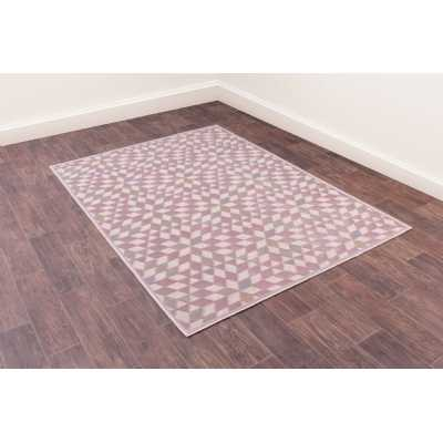 Dimensions 808 Rose Geometric Contemporary Wool Rug 160 x 230