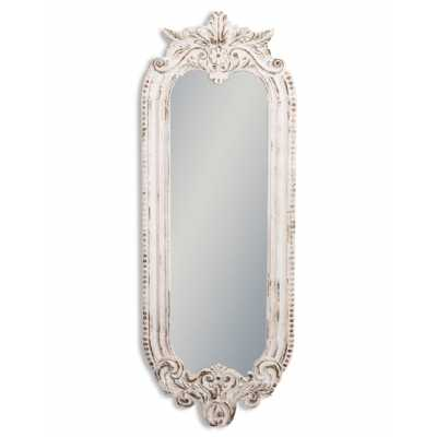 Shabby Chic Chantilly Large White Painted Distressed Ornate Carved Narrow Wall Mirror