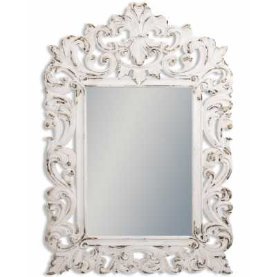 Rustic Style Chantilly Large White Distressed Carved Rectangular Wall Mirror