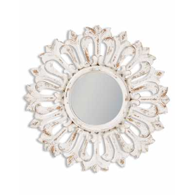 Shabby Chic White Painted Distressed Carved Sunburst Round Wall Mirror 60cm Diameter