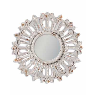 Shabby Chic Grey Painted Distressed Carved Sunburst Round Wall Mirror 60cm Diameter