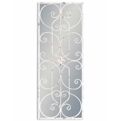 Shabby Chic White Painted Metal Rectangular Panel Ornate Metal Wall Mirror 128 x 48cm
