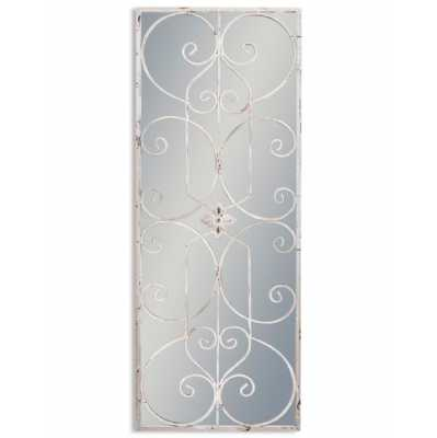 Shabby Chic Grey Painted Metal Rectangular Panel Ornate Metal Wall Mirror 128 x 48cm
