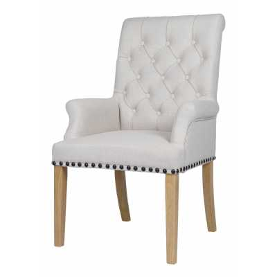 Fabric Chairs Beige Dining Chair With Studded Detail And Knocker